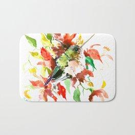 Little Hummingbird and Red Flowers Bath Mat