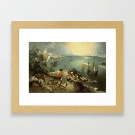 Landscape with the Fall of Icarus - Pieter Bruegel Framed Art Print