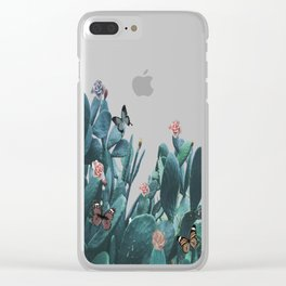 Cactus & Flowers - Follow your butterflies Clear iPhone Case