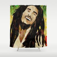 marley Shower Curtains featuring Marley Collage by Emily Harris