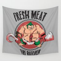 meat Wall Tapestries featuring FRESH MEAT by Akiwa