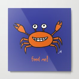 Mr and Mrs Cabby Amanya Design Blue Single FEED ME! Metal Print