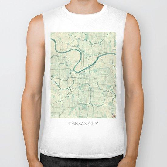 Kansas City Map Blue Vintage Biker Tank