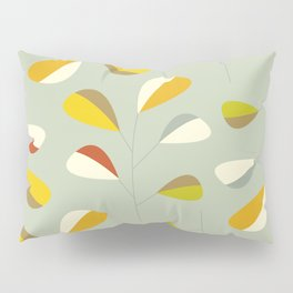 Mid Century Modern Graphic Leaves Pattern 1. Vintage green Pillow Sham