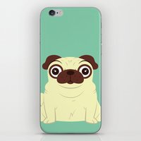 pug iPhone & iPod Skins featuring Pug by Hoborobo