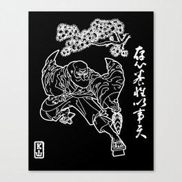 Tengu King: Polish Your Heart (White on Black Canvas Print