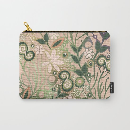 Detailed square of peach and green floral tangle Carry-All Pouch