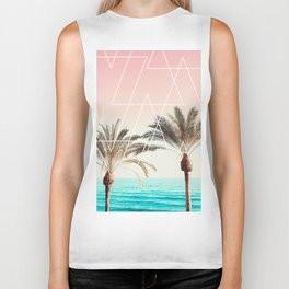 Modern tropical palm tree sunset pink blue beach photography white geometric triangles Biker Tank