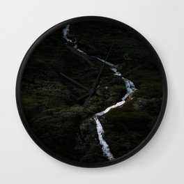 Dark forest with waterfall on the side of a mountain in Norway - Landscape Photography Wall Clock