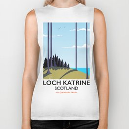 Loch katrine Scotland railway poster Biker Tank