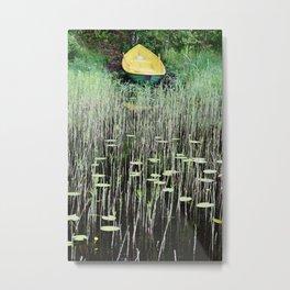 Yellow boat on lakeside Metal Print