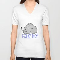 geology V-neck T-shirts featuring Geology Rocks by leeann walker illustration