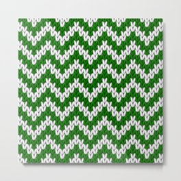 Green Christmas knitted chevron large scale Metal Print