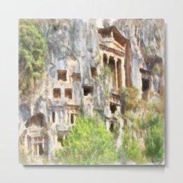 Fethiye Lycian Tombs Watercolor Metal Print