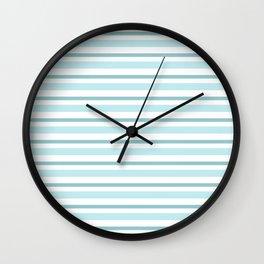 Stripes Lines horizontal - different colors of blue aqua #Society6 Wall Clock