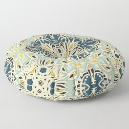Protea Pattern in Deep Teal, Cream, Sage Green & Yellow Ochre  Floor Pillow