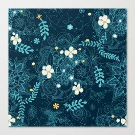 Dark floral delight Canvas Print