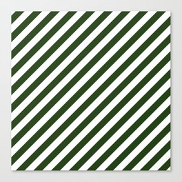 Large Dark Forest Green and White Candy Cane Stripes Canvas Print
