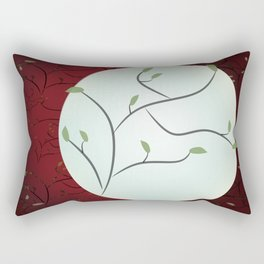 Full Moon with Leaves (Red) Rectangular Pillow