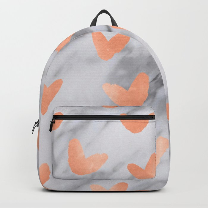 Hearts Rose Gold Marble Backpack