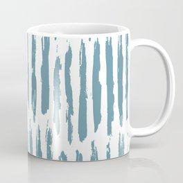 Vertical Dash Teal on White Coffee Mug