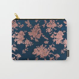 Navy blue faux rose gold watercolor floral Carry-All Pouch
