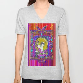 Chromatic  Dancing Unicorn Floral Abstract Unisex V-Neck