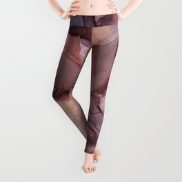Ink Swirls Painting Lavender Plum Gold Flow Leggings