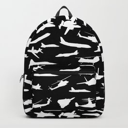 Aircraft Silhouettes, Black White Pattern Backpack