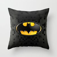 bat man Throw Pillows featuring BAT MAN by BeautyArtGalery