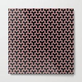 Salmon Pink Triangles on Black Metal Print
