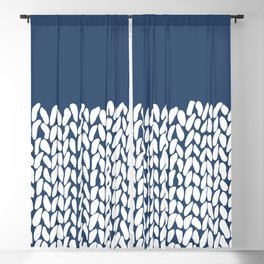 Half Knit Navy Blackout Curtain