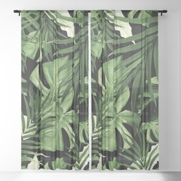 Tropical Jungle Night Leaves Pattern #5 #tropical #decor #art #society6 Sheer Curtain