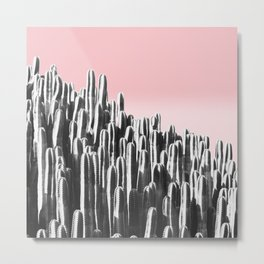 Cactus B&W & Sunset Metal Print