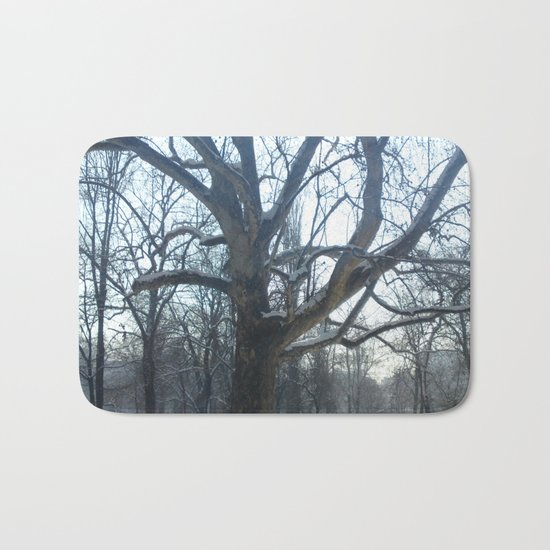 Old tree in winter sunny day Bath Mat