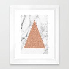 Rose gold on marble glitter triangle Framed Art Print