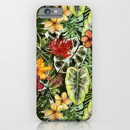 Tropical Vintage Exotic Jungle Flower Flowers - Floral watercolor pattern iPhone Case