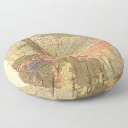 Map of Spokane 1898 Floor Pillow