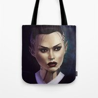 mass effect Tote Bags featuring Mass Effect: Jack by Ruthie Hammerschlag