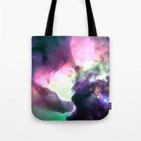 nebula Tote Bags featuring Pastel nebULa by 2sweet4words Designs