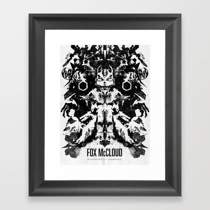 Fox Mccloud Star Fox Inspired Geek Psychological Inkblot Framed Art Print
