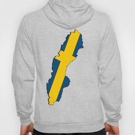 Sweden Map with Swedish Flag Hoody