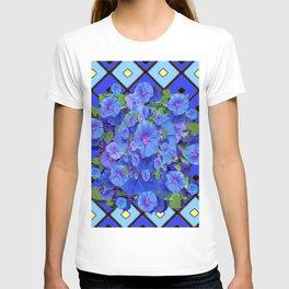 Shades of Blue Diamond Patterns Morning Glories Art T-shirt
