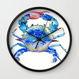Blue Crab, crab restaurant seafood design art Wall Clock