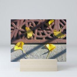 Grate and Ginkgo Leaves Mini Art Print