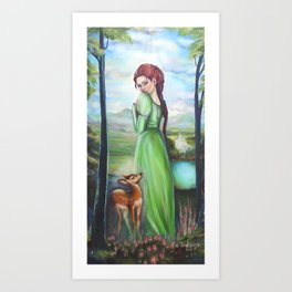 Bernadette and a fawn, oil paintinting on canvas Art Print