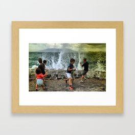 Children playing on the beach Framed Art Print
