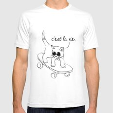 CARELESS CAT - C'EST LA VIE White Mens Fitted Tee MEDIUM