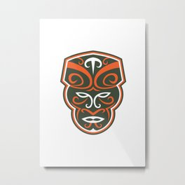 Maori Mask Face Front Retro Metal Print