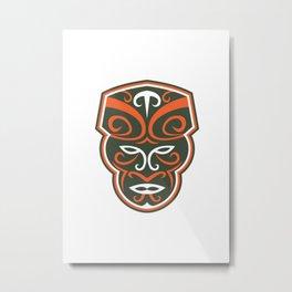 Maori Mask Face Front Retro Metal Print